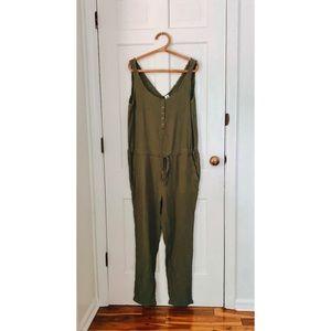 Flawless | Green Gauze Drawstring Jumpsuit